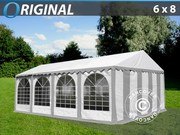 Marquee 6x8 m PVC grey/white,  Base frame included