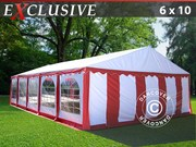 Marquee 6x10 m PVC Red/white