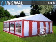 Marquee 6x8 m PVC Red/white,  base frame included